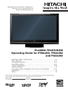 Hitachi P50A402 Flat Panel TV Operating manual (62 pages)